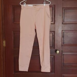 Pink sateen H&M skinny dress pants.